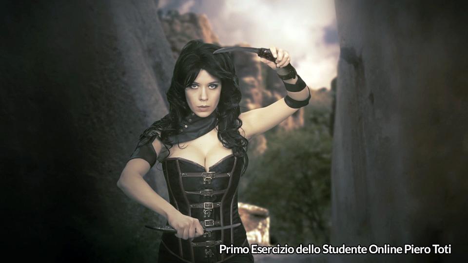 Guerriera fantasy in chroma key su paesaggio virtuale, primo progetto dello studente online Piero Toti