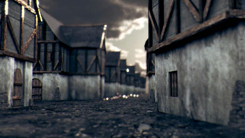 Villaggio medievale 3D in Lightwave